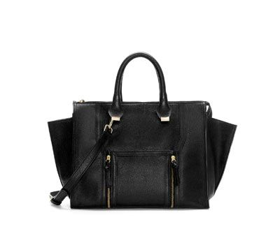 Image 1 of LEATHER CITY BAG WITH POCKET AND ZIPS from Zara