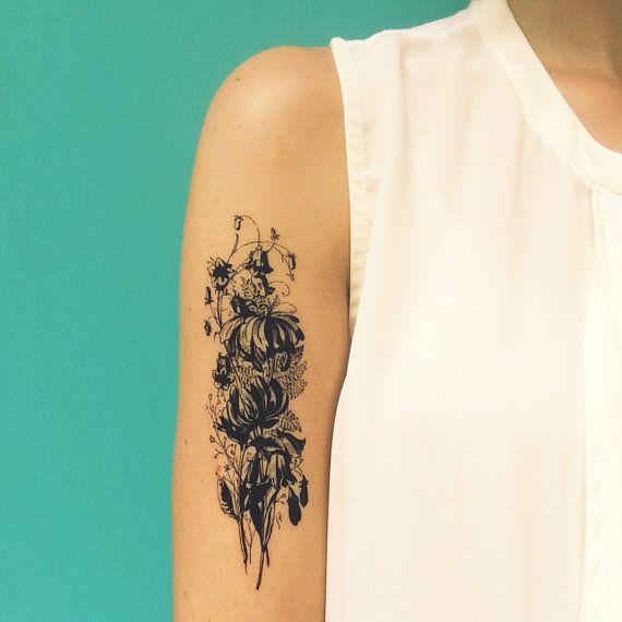 bouquet de fleur vintage grand tatouage temporaire tattoo Saint Valentin  cadeau énorme tatouage floral noir faux