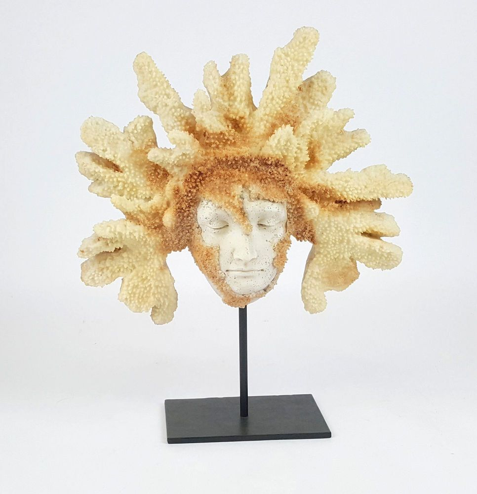 Coral Sculpture Face Statue Nautical Decor Wall Hanging Or Standing ...