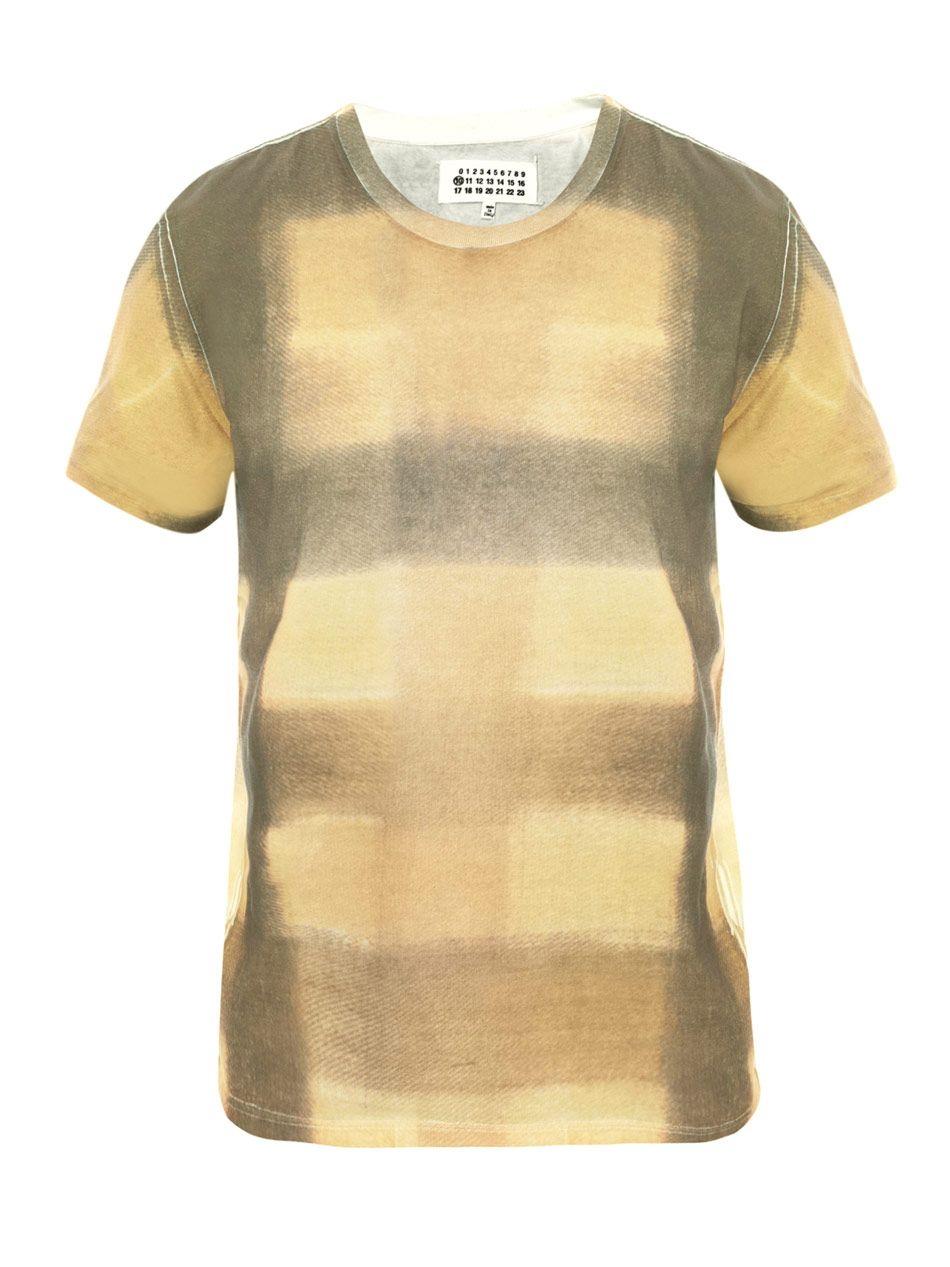 Yellow & Grey printed cotton tee;   Michael Black, ditto