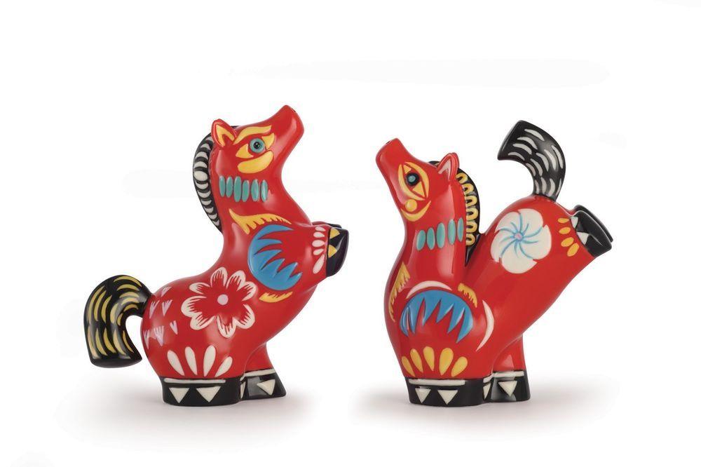 FZ03182 Franz Porcelain Steeds Design Sculptured Salt And Pepper Shakers  Awesome