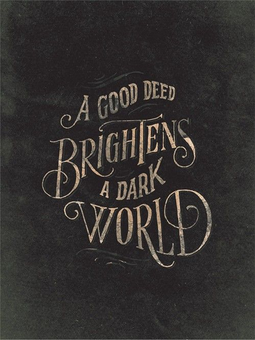 "bigbigtruck:  typethat:  My favorite, hand-lettering by Jon Contino  with my glasses off I read this as ""A Good Beer Brightens A Dark World"" and I was likeoh you have no idea how true this is (that said I love this)"