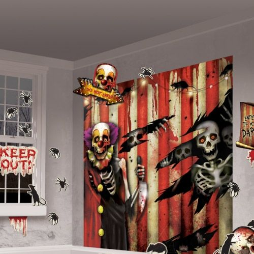 Creepy Carnival Scene Setter Decoration Kit - Pack of 32 Perfect - halloween scene setters decorations