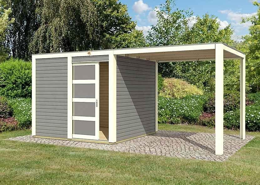 KARIBU Gartenhaus »Cubussi«, BxT 246x246 cm, inkl. Anbau