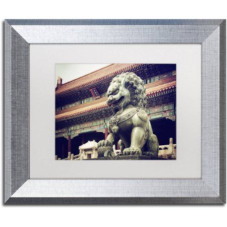 Trademark Fine Art Bronze Lion Canvas Art by Philippe Hugonnard, White Matte, Silver Frame, Assorted
