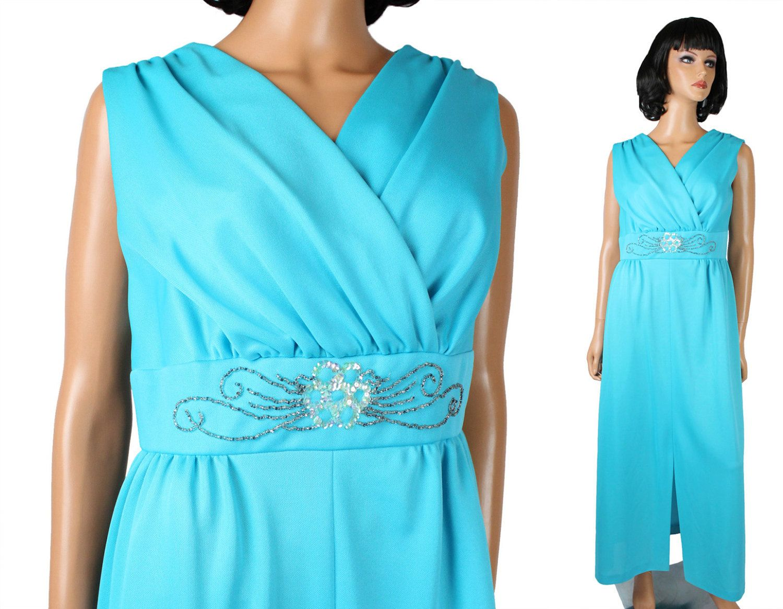 70s Disco Dress Sz L Vintage Long Sleeveless Sky Blue Silver Beaded ...