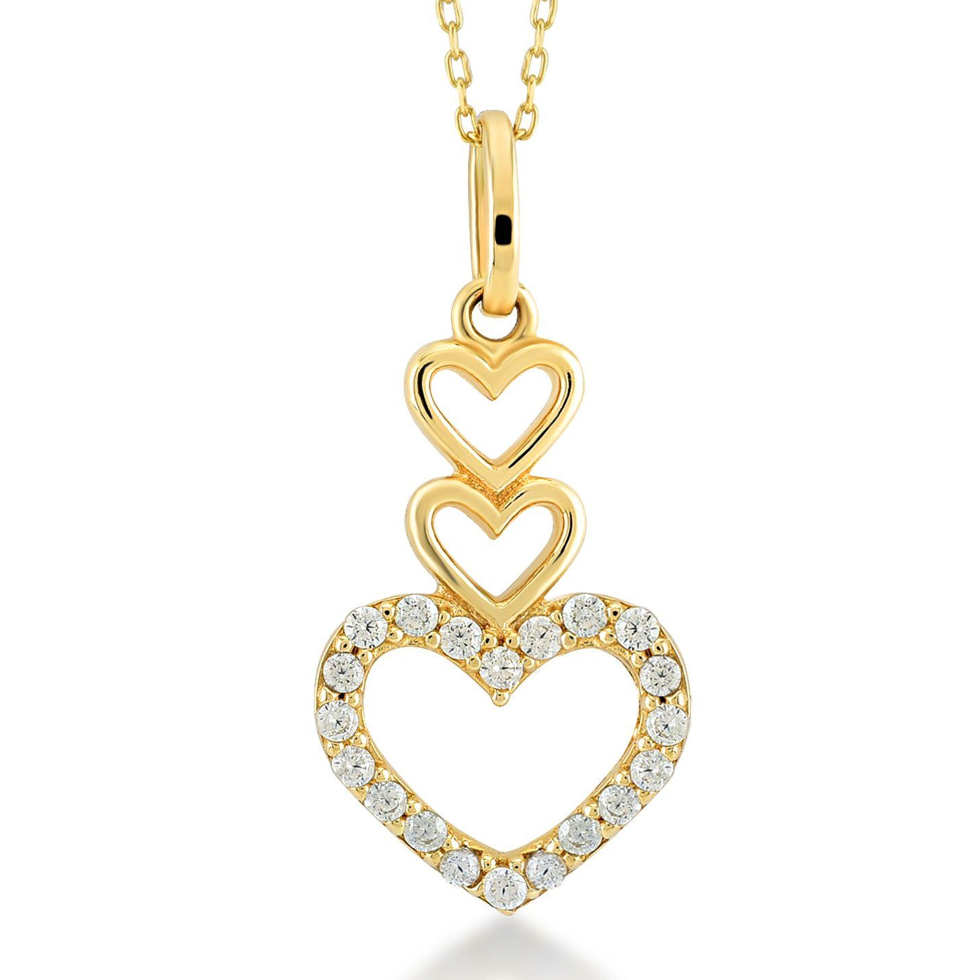 912ceee253d3a Gelin 14k Solid Gold Cubic Zirconia Forever Love  Three Heart Necklace for  Women - Fine Jewelry Birthday Gift for Her - with Gold Certficiate and  Lovely Box ...