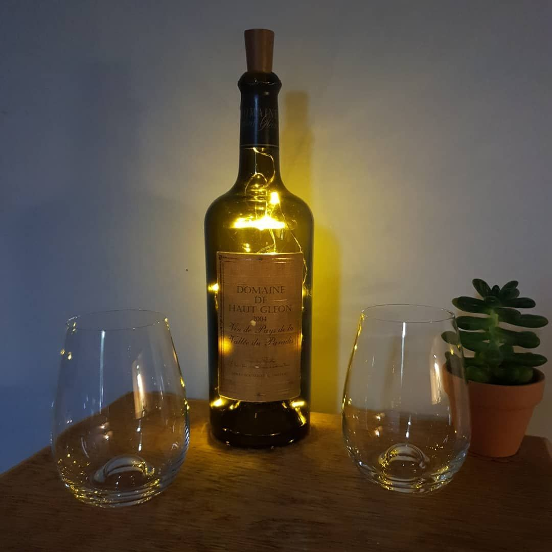 Unusual Shaped Wine Bottle Light Made With A Classic French Wine Bottle Cork Lights With 20 Leds B French Wine Bottles Wine Bottle Corks Lighted Wine Bottles