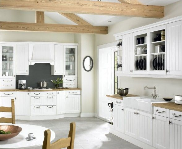White Or Ivory Kitchen For Beach House | Kitchen Design Ideas: White Kitchen  Beach Style Solid Wood Tops Bead Board Cabinets