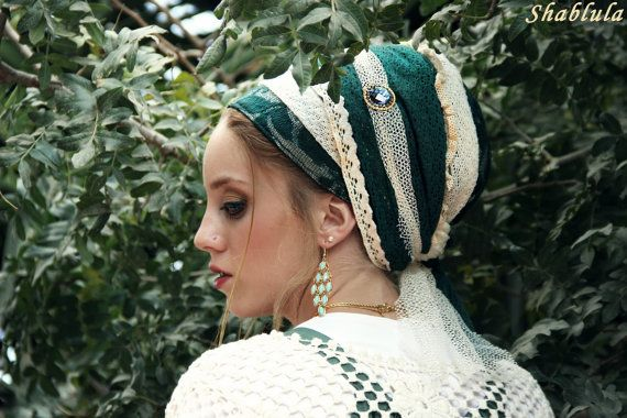 Forest Green & Lace Sinar Tichel headcovering turban by Leelach, $55.00