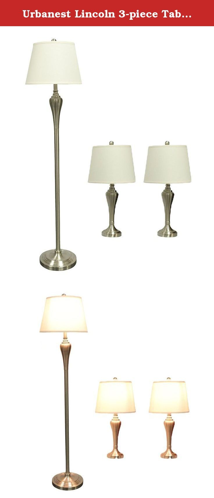 Urbanest lincoln 3 piece table and floor lamp set in brushed urbanest lincoln 3 piece table and floor lamp set in brushed nickel with beige linen geotapseo Image collections