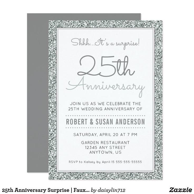 25th Anniversary Surprise Faux Silver Glitter Invitation Zazzle Com Glitter Invitations Silver Glitter Invitations Anniversary Surprise