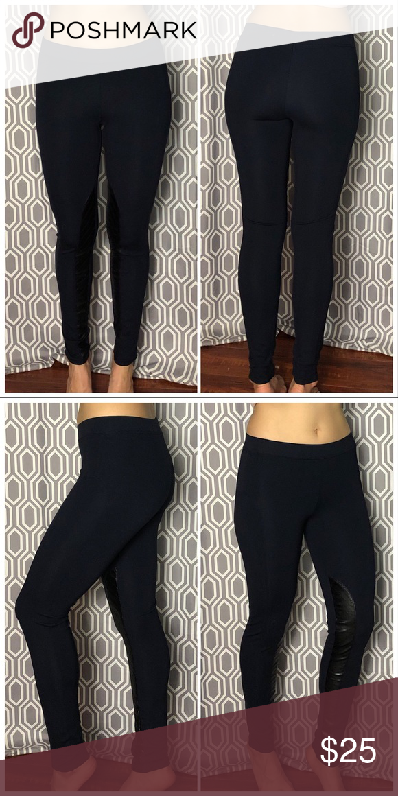 cc2a7e2f87c75 Navy blue Tractr leggings with faux leather detail Super cool thick very dark  blue leggings with. Visit. April 2019