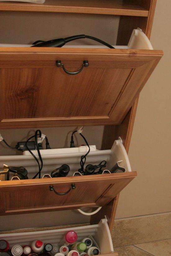 Great Idea For Hiding Small Bathroom Appliances Ikea Shoe