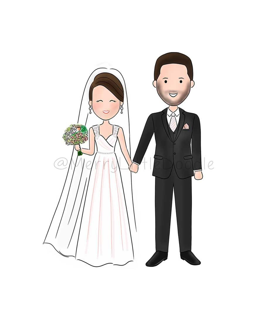 Save The Date Wedding Invitation Couple Custom Portrait Cartoon Doodle Drawing Digital Wedding Illustration Wedding Couple Cartoon Wedding Couples