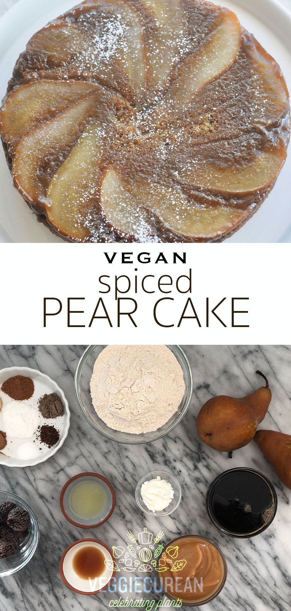Spiced Pear Cake #hearthealthydesserts Not only is this Spiced Pear Cake vegan, fat-free and heart-healthy, it has no added sugar! It is sweetened naturally with fruits, which are packed full of nutrients. This healthy cake goes perfectly with a cup of tea on a Fall evening, or take it to your next party! #vegan #pear #cake #spiced #dessert #recipe #hearthealthydesserts