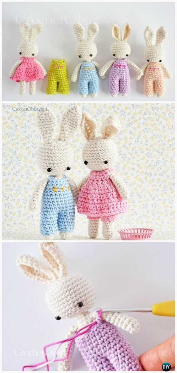 Crochet Amigurumi Bunny Toy Free Patterns Instructions | Lugares