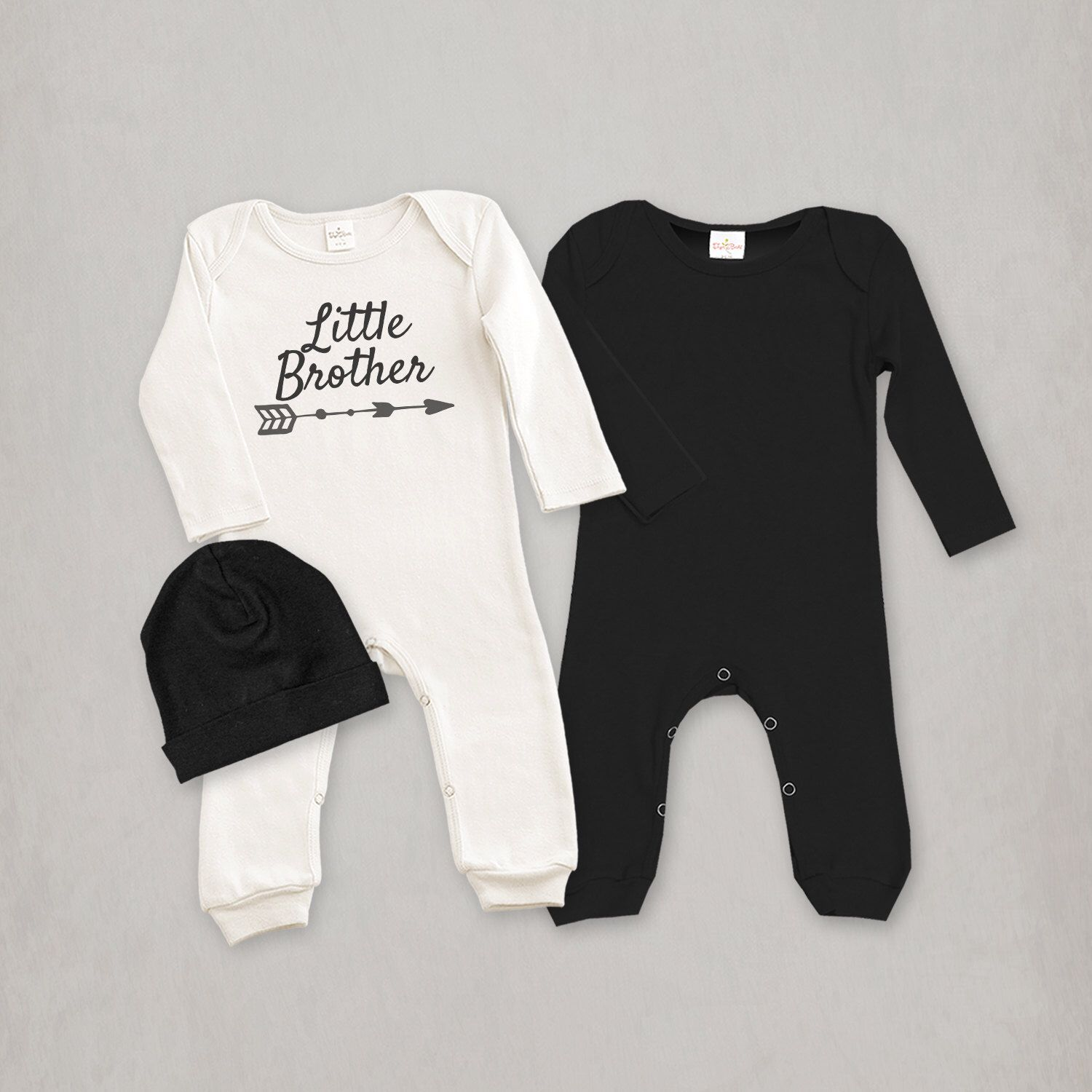 Newborn Boy Take Home Outfit Little Brother Romper with Optional