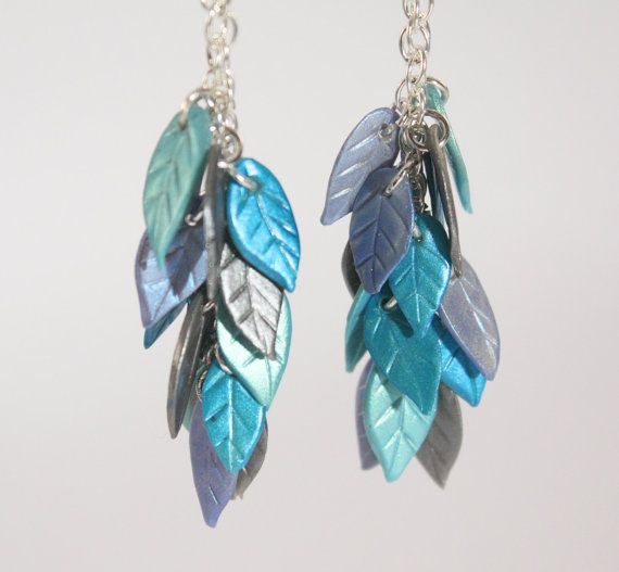 Winter Leaves Blue and Silver Clay Earrings by ClayBrains on Etsy, $20.00