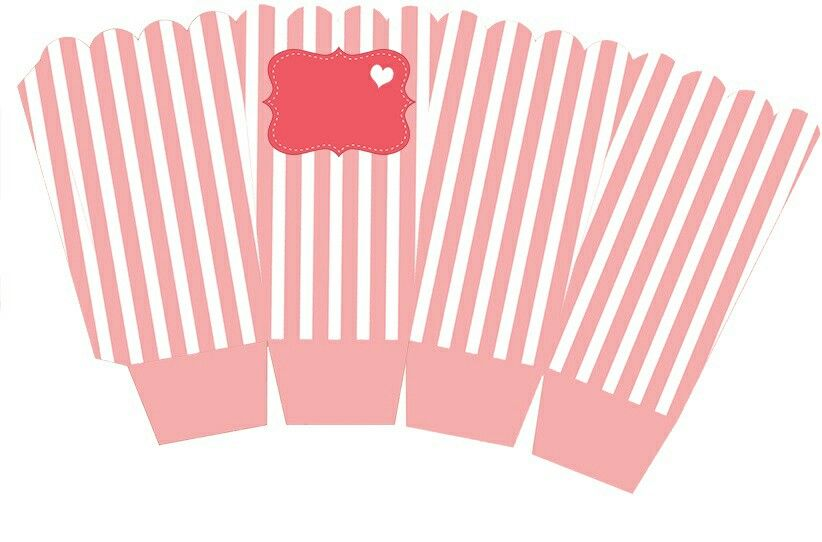 Moldes De Palomas Para Imprimir: Caja Palomitas - Box Popcorn Pink