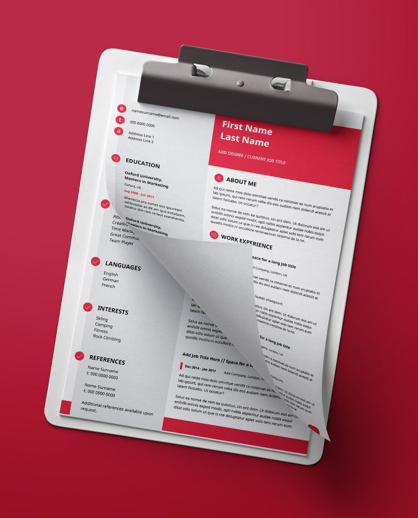 Icon Red Modern Double Page Cv Resume In 2019 Modern