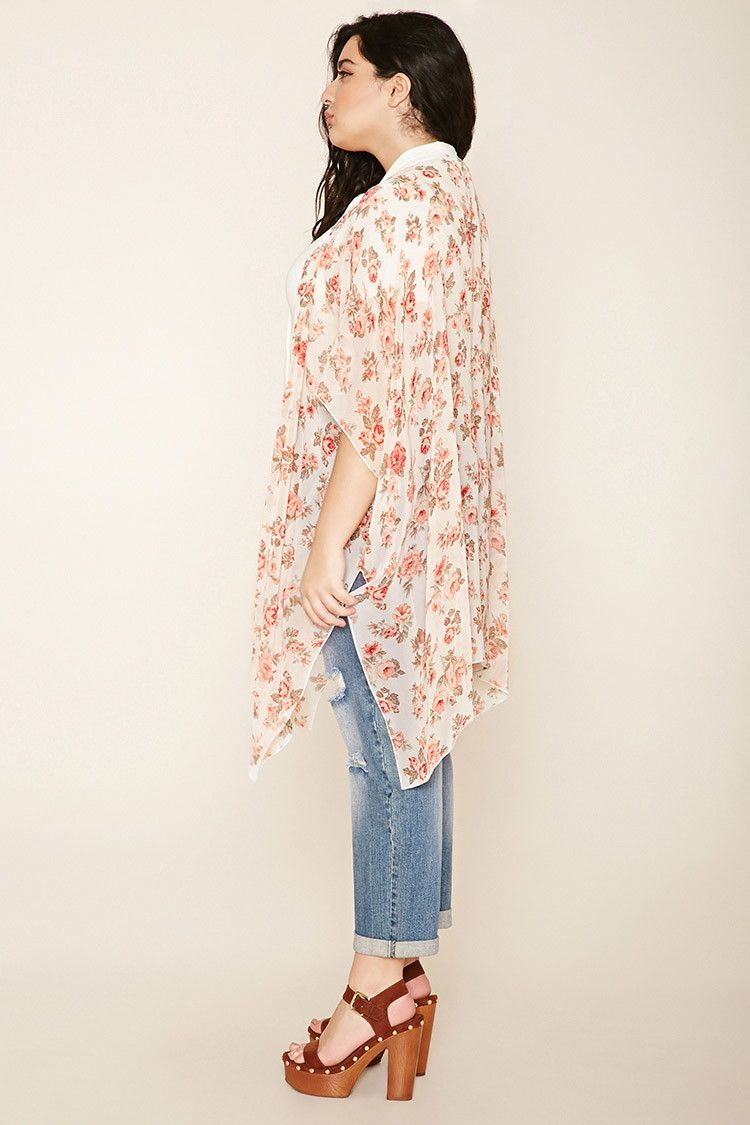 5febc51fe Forever 21+ - A sheer woven kimono with a longline silhouette, an allover  floral print, an open front, side slits, and short sleeves.