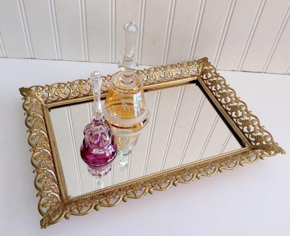 Vintage Gold Filigree Mirror Vanity Tray By Mamiezvintage