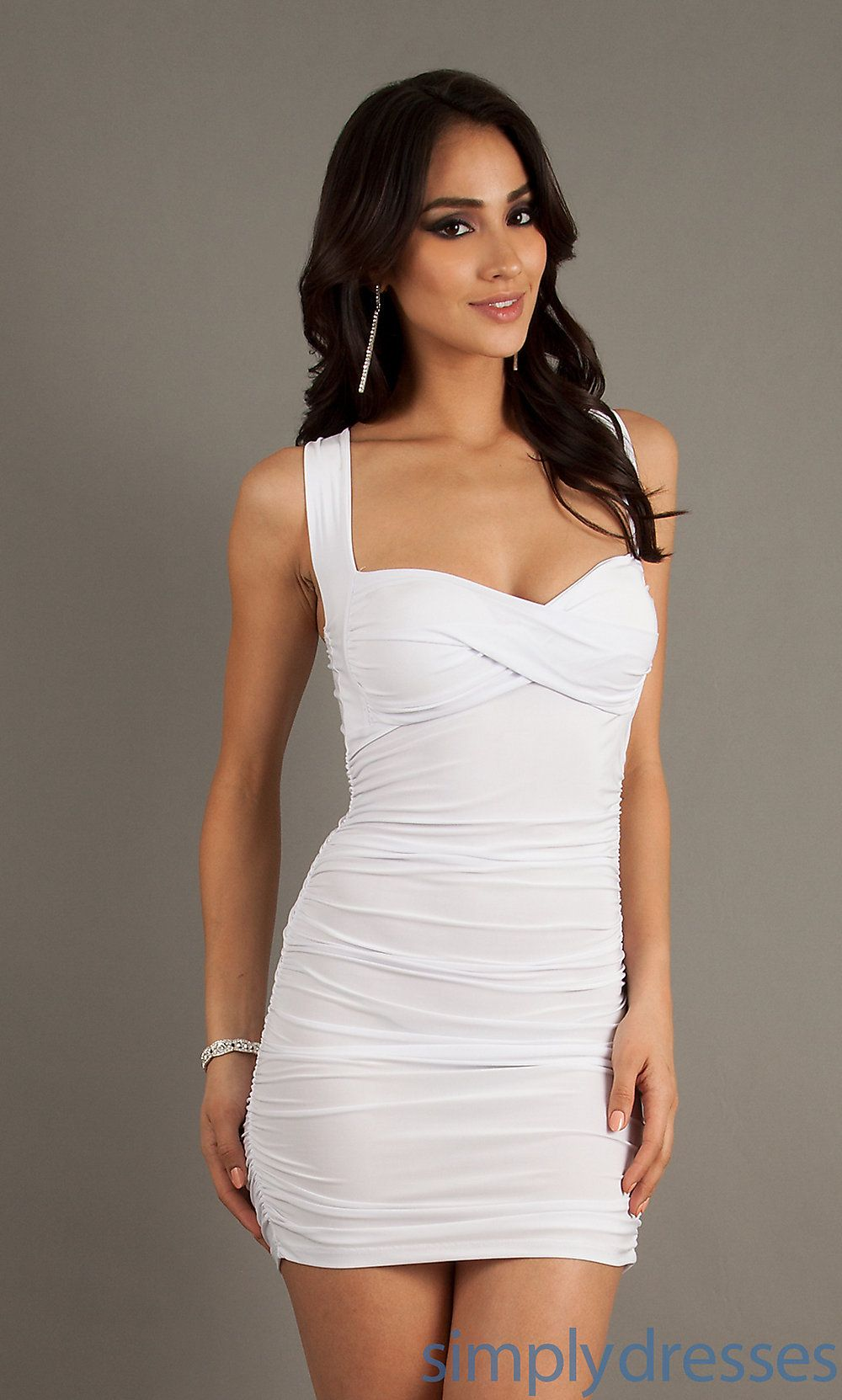 Short Sexy Sleeveless Ruched Dress | Sexy dresses, White party ...