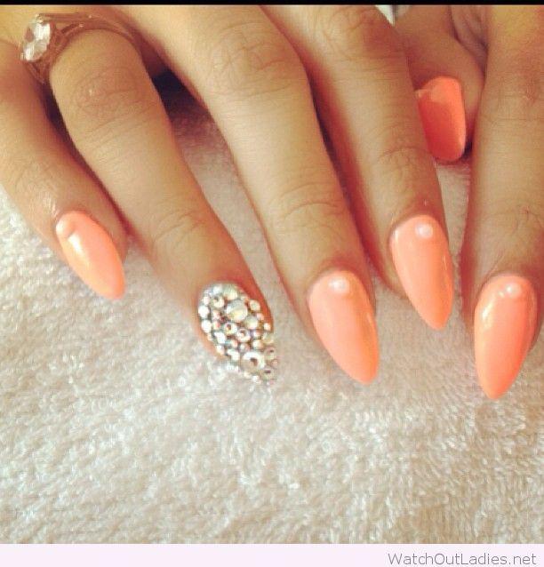 Light Orange Nail Polish And Diamonds Pointy Nails Beautiful Nails Nail Designs
