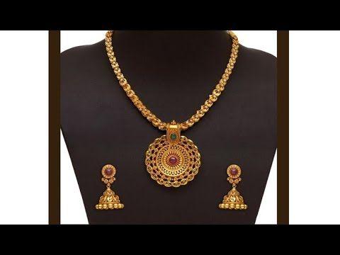 a04350a193461 Latest Light Weight 20 Grams Gold Short Designer Necklace Set ...
