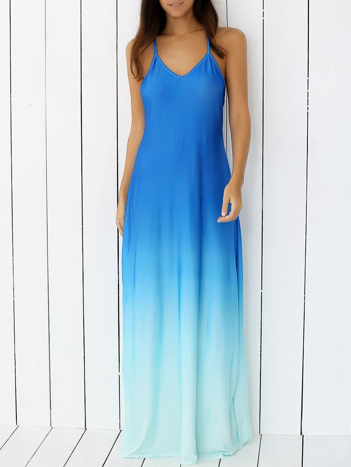 Bohemian Criss-Cross Backless Tie-Dye Cami Dress | Bohemian, Blue ...