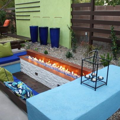 Las Vegas Contemporary Home backyard fire pit Design Ideas ... on Living Room Fire Pit id=79700