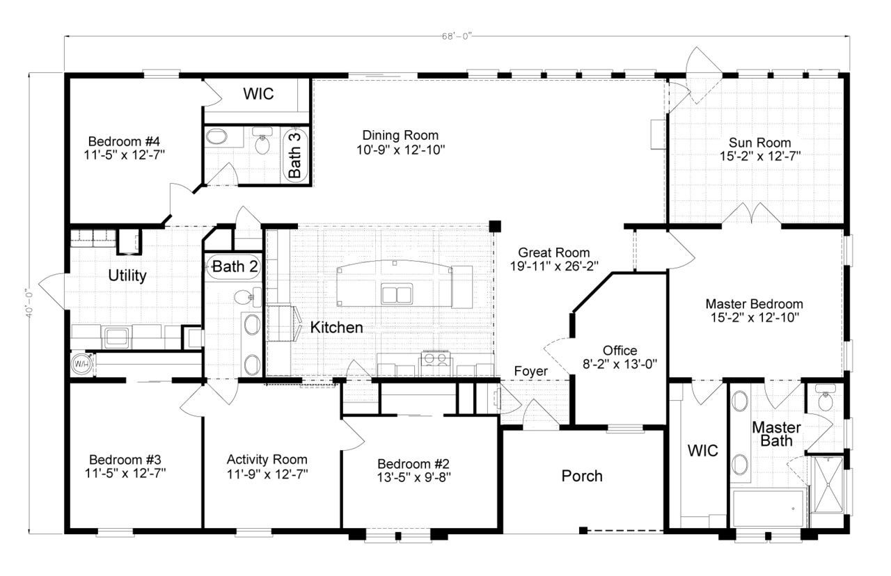 Turn the master suite into garage Mobile home floor plans