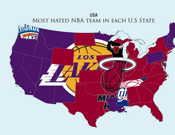 Reddit Establishes Sports Hate Maps For NFL NBA And MLB In The - Nfl us map