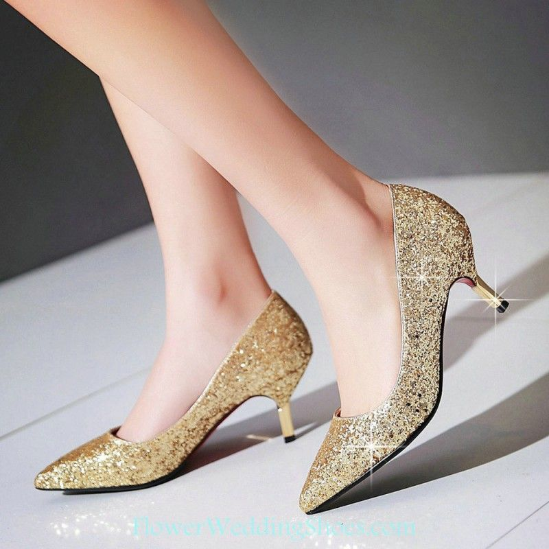 Free Shipping Pointed Toe Low Heel Gold Sequin Shoes For Prom ...