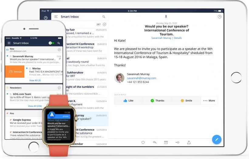 Spark email client updated for iPad and iPad Pro http