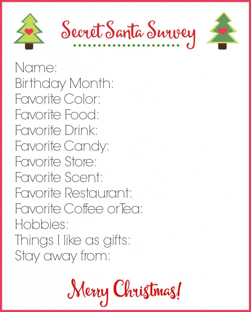 This is a graphic of Candid Secret Santa Wish List Printable