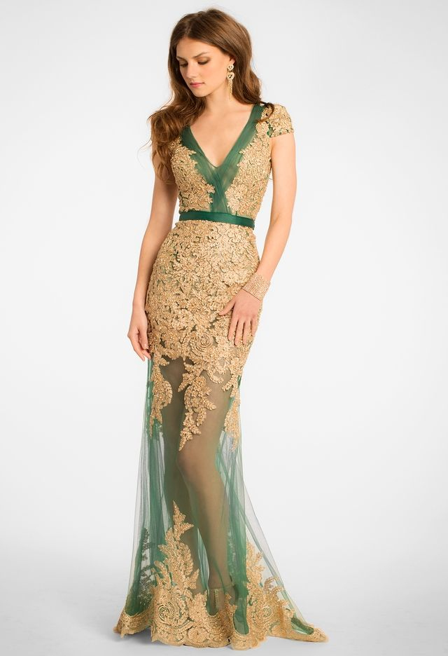 Cap Sleeve Plunging Dress with Two Tone Applique from Camille La Vie and Group  USA 966c2abee