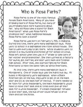 Rosa Parks Reading Passage | 4th grade- Language Arts ...