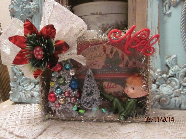 VTG.inspired Christmas shadow box ornament bottle brush tree pixie Lefton Noel