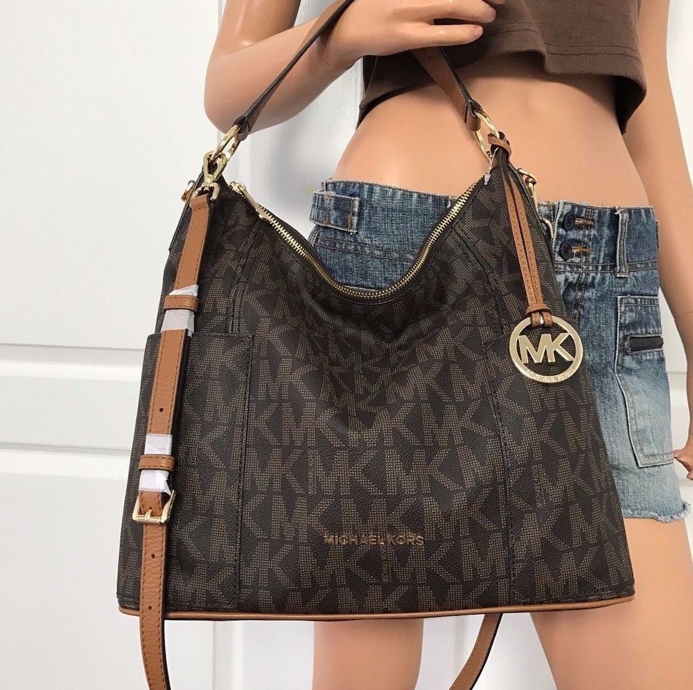 aa58634e8828 Nwt Michael Kors Brown MK Signature PVC Leather Shoulder Handbag Hobo Bag  Purse  MichaelKors  TotesShoppersShoulderBags