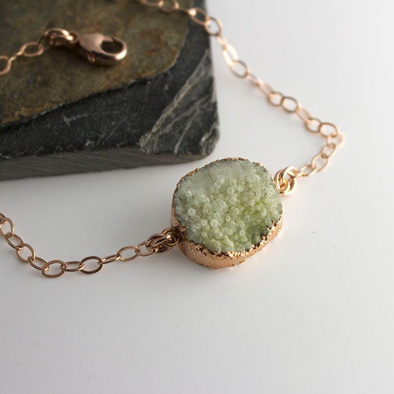 Green Druzy BraceletRose Gold JewelryDryzy Gold Bracelet