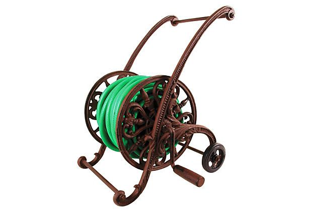 Cast Iron Hose Reel On Wheels On Onekingslane Com Garden Hose Garden Hose Reel Hose Cart