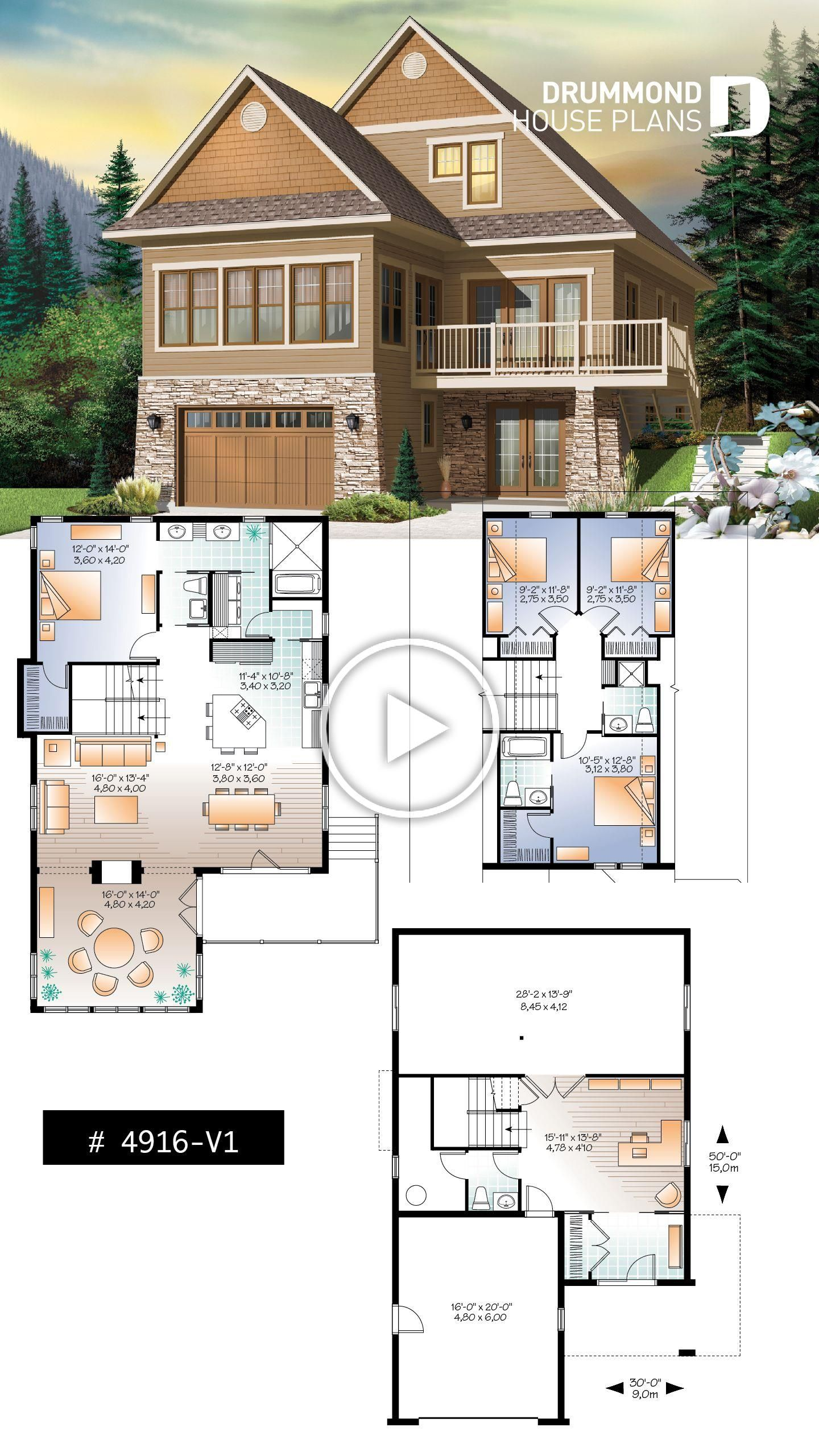 Lakefront Or Mountain 4 Bedroom Home Plan 2 Master Suites Open Floor Plan Home Office Bonus Space 3 Baths In 2020 Sims House Plans