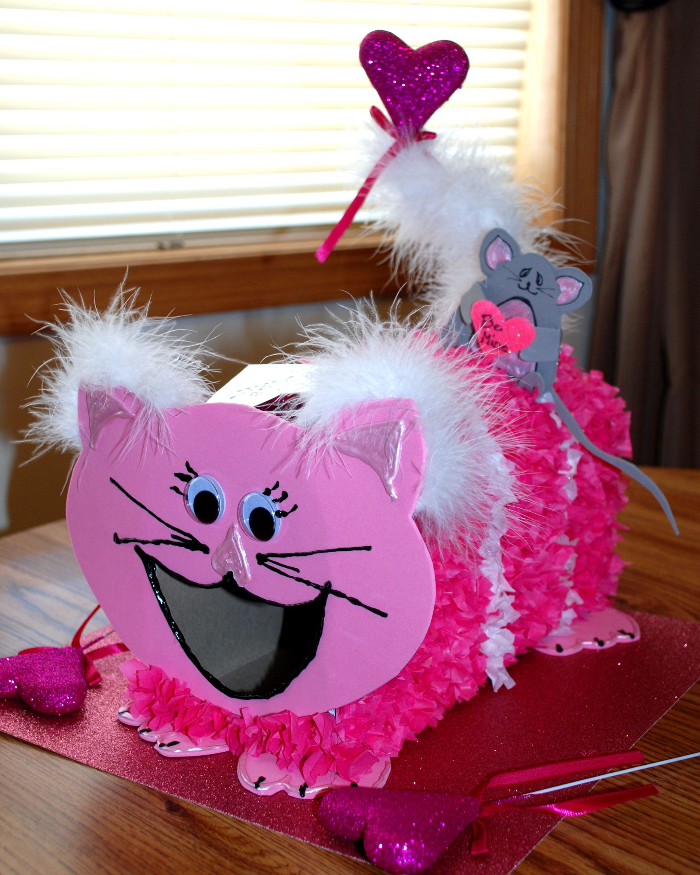 valentines day box made from a cracker box and tissue paper - Cat Valentine Box
