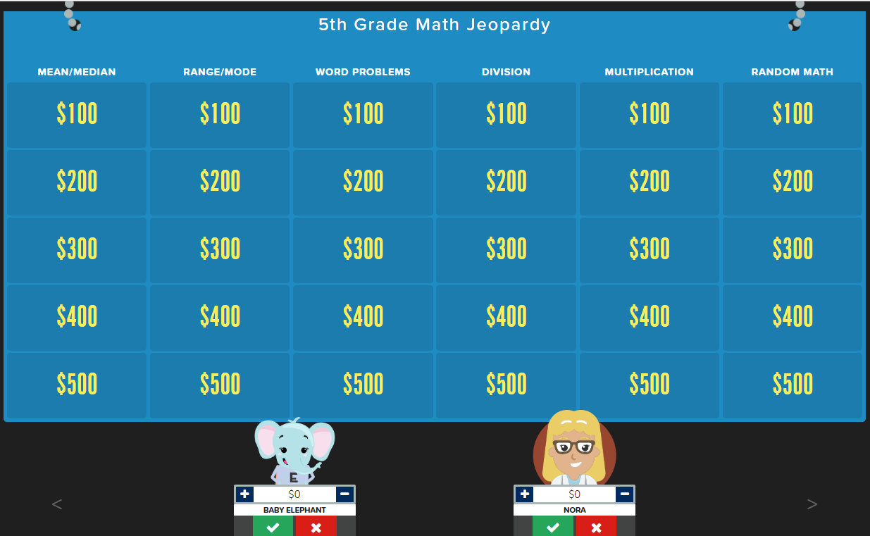 5th Grade Math Review Jeopardy Template Math Jeopardy 5th Grade Math Games Math Games For Kids