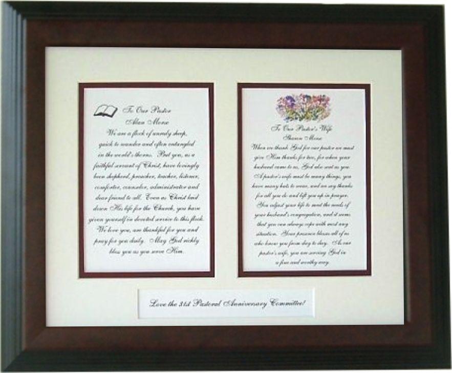 Pastor and Pastor's wife framed gift   Pastor, Pastors ...