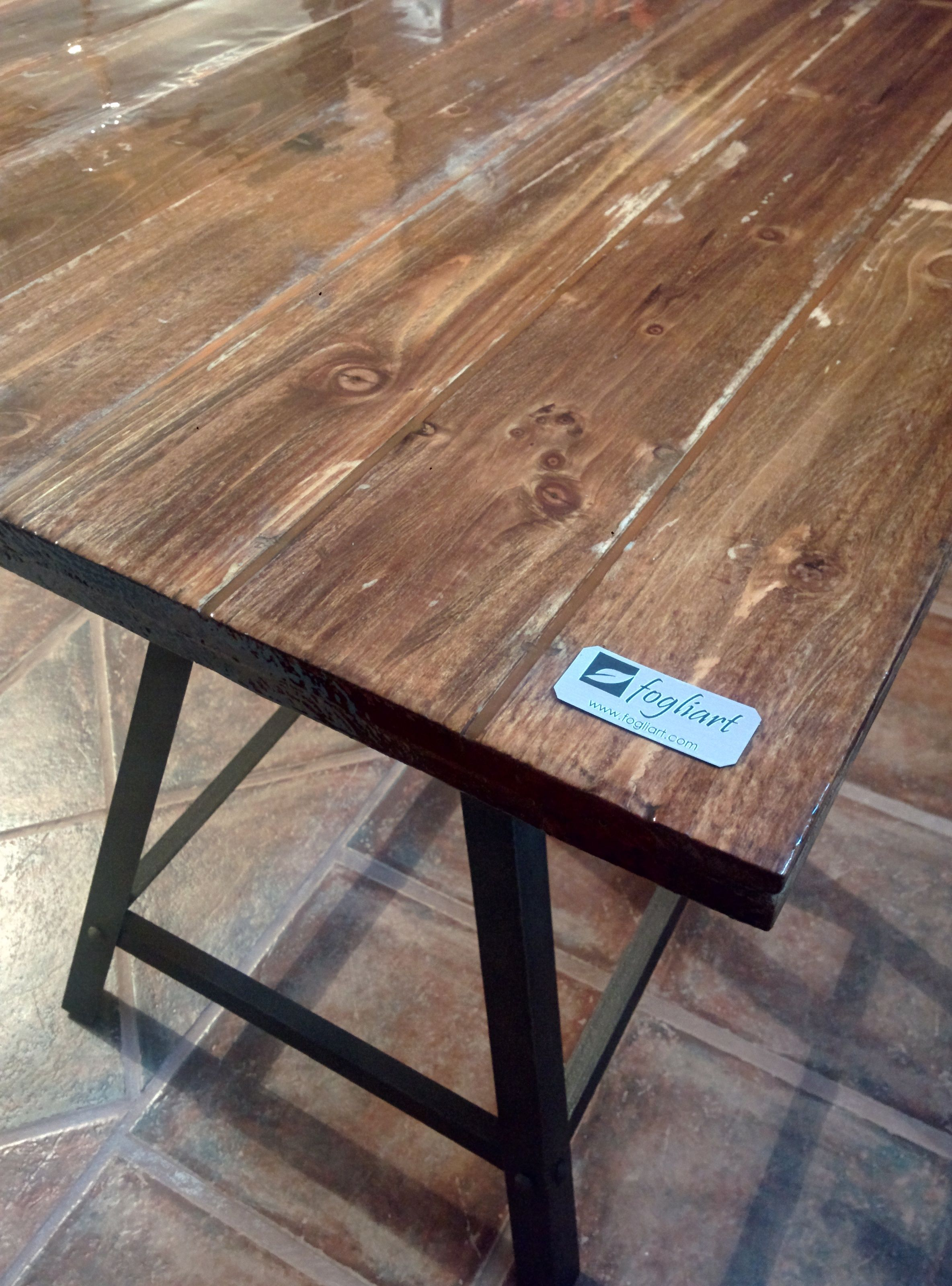 Reclaimed Wood Table Top Covered With Epoxy Resin By