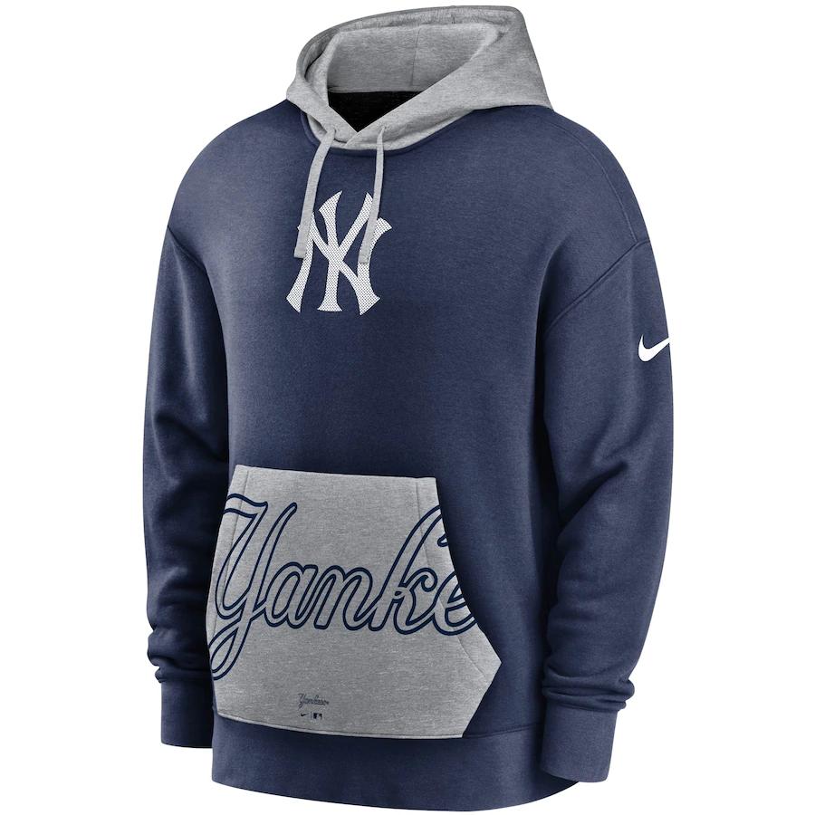 Men S New York Yankees Nike Navy Gray Heritage Tri Blend Pullover Hoodie Hoodies Men Pullover Hoodies Pullover Hoodie [ 900 x 900 Pixel ]
