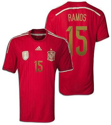 new product fe0f5 d0928 ADIDAS SERGIO RAMOS SPAIN HOME JERSEY FIFA WORLD CUP BRAZIL ...